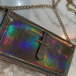 New never used holographic clutch with chain
